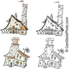 kaprys, wektor, ilustracja, domy