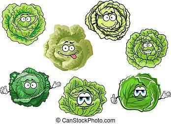 kapusta, chrupiący, zielony, rysunek, warzywa