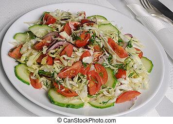 kapusta, ogórek, pomidory, sałata