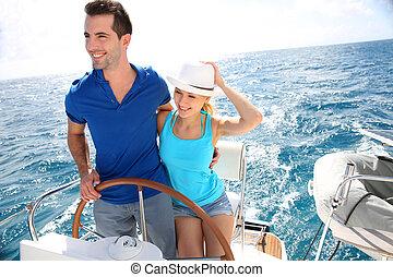 karaibski, żeglując, para, jacht, młody, morze