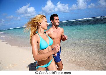 karaibski, wyspa, para, wyścigi, plaża, piaszczysty