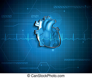 kardiologia, medyczny, abstrakcyjny, tło., technologia, concept.