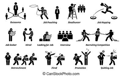 kariera, ikony, set., praca, zatrudnienie