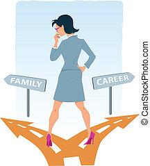 kariera, wybierając, rodzina, między