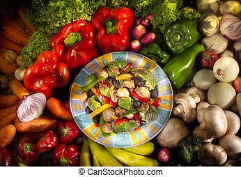 karmowy półmisek, wegetarianin, warzywa