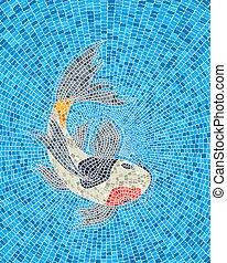 karp, koi, mozaika, fish