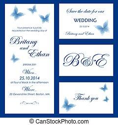 karta, ślub, karcięta., zaproszenie, oprócz, dziękuję, data