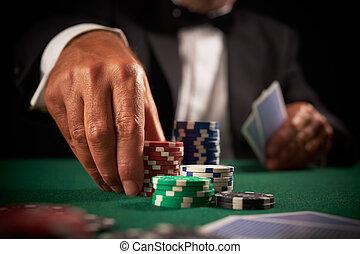 karta, kasyno, gracz, drzazgi, hazard