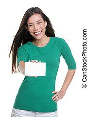 karta, kobieta, reklama, asian, przypadkowy, tekst, pokaz, dzierżawa, czysty, młody, szczęśliwy, znak, handlowy