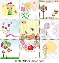 karta, komplet, powitanie, barwny, kwiat