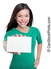 karta, poznaczcie., handlowa kobieta, asian, przypadkowy, copyspace, tekst, biały, pokaz, dzierżawa, czysty, papier, szczęśliwy, reklama, dziewczyna, młody