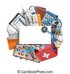 karta, przestrzeń, tekst, albo, zaopatruje, medycyna, troska, busiiness, wyposażenie, lekarstwa, concept., medyczny, pigułki, foir, pierwsza pomoc, zdrowie, kit., apteka