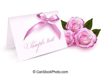 karta, róże, powitanie, piękno