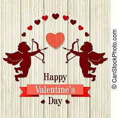 karta, romantyk, powitanie, valentine