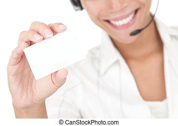 karta, słuchawki, dzierżawa, handlowy, kobieta interesu