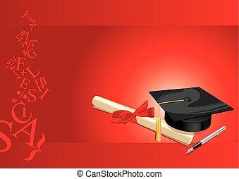 karta, stopień, uniwersytet, powitanie, czerwony, kolegium