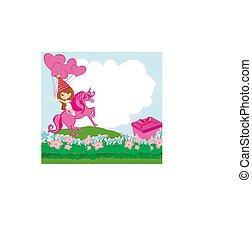 karta, szczęśliwe urodziny, dziewczyna, jednorożec, mały