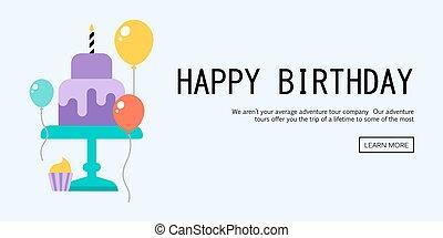 karta, szczęśliwe urodziny, powitanie
