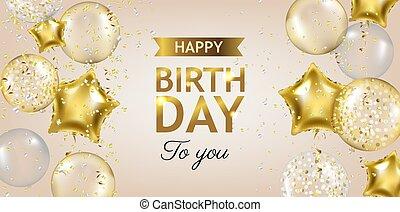 karta, urodziny, balony, szczęśliwy