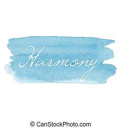 karta, wektor, napisy tekst, akwarela, ikona, ręka, pociągnięty, kaligrafia, harmonia, tło, ilustracja, typografia, błękitny