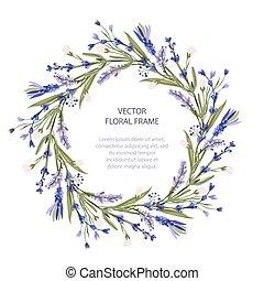 karta, wieniec, wektor, template., kwiatowy, ułożyć, powitanie