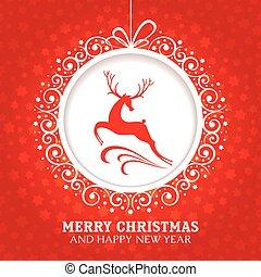kartka na boże narodzenie, powitanie, jeleń