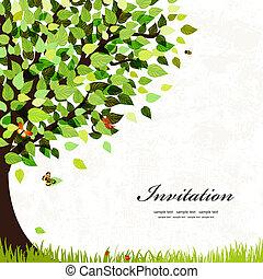 kartka pocztowa, drzewo, projektować