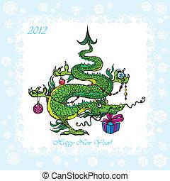 kartka pocztowa, nowy, boże narodzenie, rok