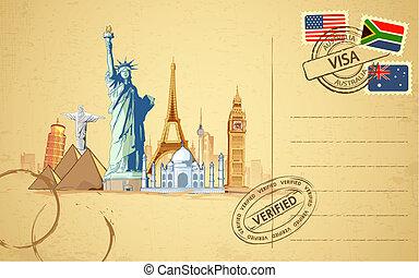 kartka pocztowa, podróż