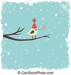 kartka pocztowa, ptak