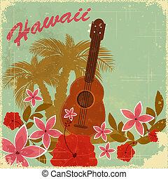 kartka pocztowa, rocznik wina, hawajczyk