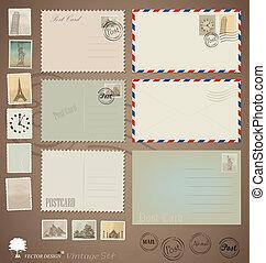 kartka pocztowa, rocznik wina, projekty, wektor, stamps., koperty, set:
