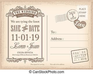 kartka pocztowa, rocznik wina, zaproszenie, tło, ślub, data, oprócz