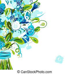 kartka pocztowa, tekst, miejsce, twój, kwiatowy