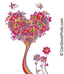 kartka pocztowa, zabawny, drzewo, powitanie