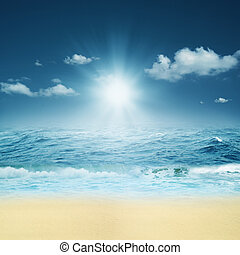 kasownik, abstrakcyjny, tła, projektować, ocean., twój