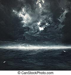 kasownik, burzowy, abstrakcyjny, tła, projektować, ocean., twój