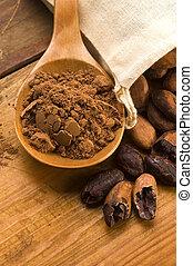 kasownik, drewniany, kakao, fasola, stół, (cacao)