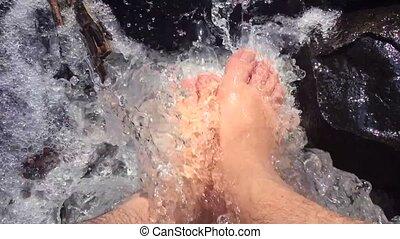 kasownik, hiking, potok, feet, podczas, podróż