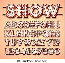 kasyno, błyszczący, jarzący się, zbiór, projektować, liczba, cinema., lekki, noc, wektor, jasny, retro, czerwony, płatowaty, backgrond., alfabet, ułożyć, rozdzielony, chrzcielnica, characters., klub, albo, abc, cień, bulwa, lights.