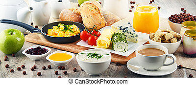 kasza, kawa, jaja, zaszyfrowany, obsłużony, śniadanie, ser