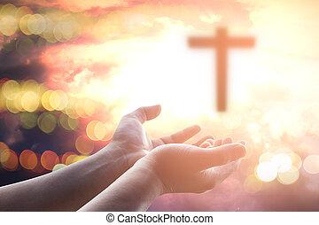 katolik, pojęcie, chrześcijanin, worship., bóg, siła robocza, eucharystia, pamięć, do góry, repent, pray., porcja, tło., dłoń, ludzki, wielki post, terapia, błogosławić, otwarty, cześć, wielkanoc