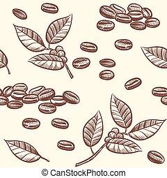 kawa, cappuccino, espresso, seamless, liście, wektor, fasola, rys, próbka, styl
