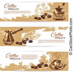 kawa, chorągiew, restauracja, kawiarnia, komplet, menu, coffeehouse, backgrounds., rocznik wina, bar