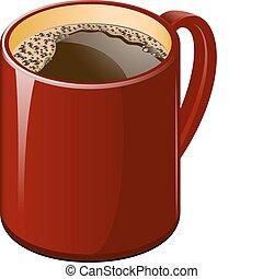 kawa, czerwona filiżanka