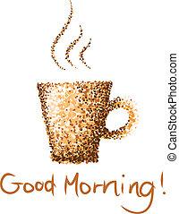 kawa, dobry, filiżanka, rano, malować, kropka