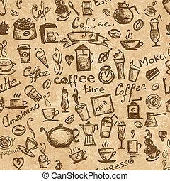 kawa, grunge, seamless, czas, projektować, tło, twój