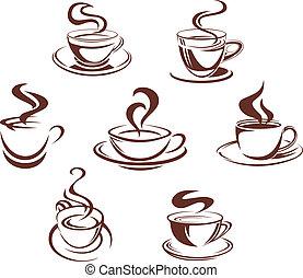 kawa herbaty, filiżanki