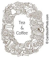 kawa herbaty, pattern., rys, doodles