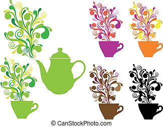 kawa herbaty, wektor, wiry